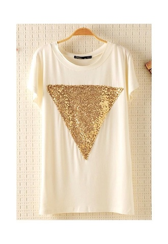 blouse white triangle triangle top gold sequins