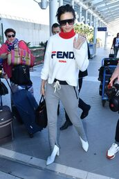 sweater,turtleneck,pants,sweatshirt,sweatpants,ankle boots,adriana lima,cannes