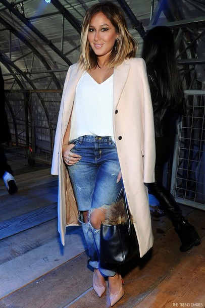 coat adrienne bailon shoes jeans blouse