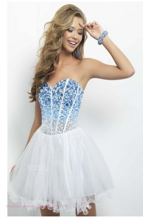 Princess style sweetheart rhinestone and sequined bodice short tulle white dropped homecoming dress