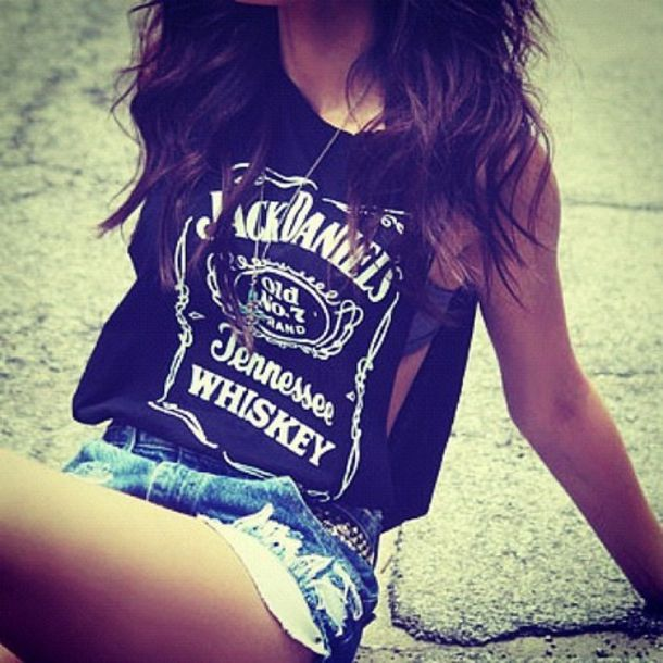 t-shirt jack daniel's whiskey tennessee shirt black shirt shorts jean shorts black white print jack daniels shirt black and white print top tshirt muscle tee blouse jeans shorts whiskey jack daniels cut out jack daniel's