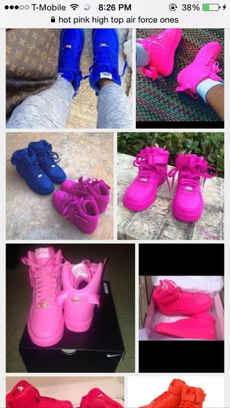 hot pink shoes air force ones one color high top sneakers anycolor