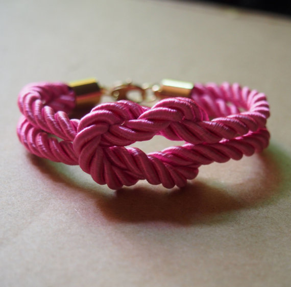 Pink rope knot bracelet pure copper by infinitybraceletlove