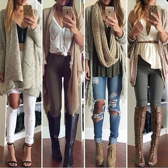 scarf kaki beige style heels white blouse boots cardigan infinity scarf shirt high heels jeans denim
