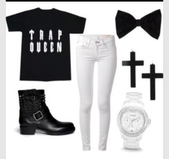 shirt blackbow white jeans black t-shirt black boots jeans shoes shorts
