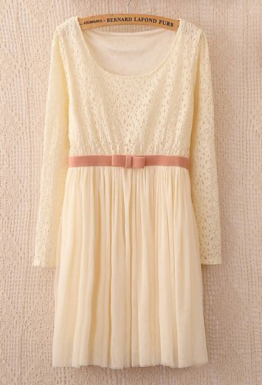 Beige Long Sleeve Lace Contrast Bow Pleated Dress - Sheinside.com