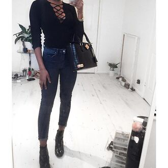 top lace up black long sleeves