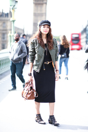 preppy fashionist,blogger,dress,jacket,jewels,shoes,bag,pointed boots,susanna boots,chloe,hat,fisherman cap,khaki bomber jacket,green bomber jacket,bomber jacket,army green jacket,black midi dress,midi dress,streetstyle,brown bag
