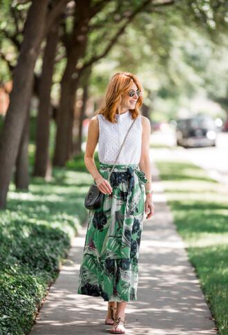 themiddlepage blogger skirt top shoes bag leaves gucci bag crossbody bag summer outfits midi skirt