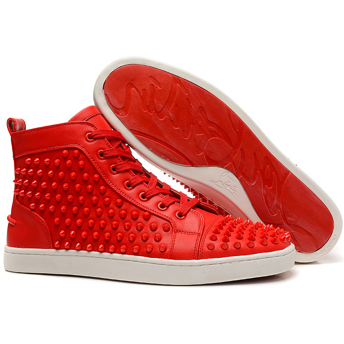 All red christian louboutin louis spikes red sole high top sneakers
