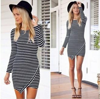 dress stripes mini dress black hat heels