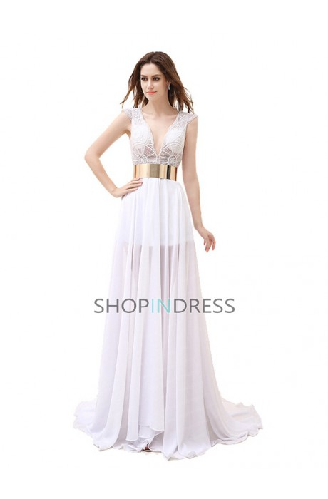 Empire sleeveless sashes/ribbons floor length evening dress sale at shopindress.com