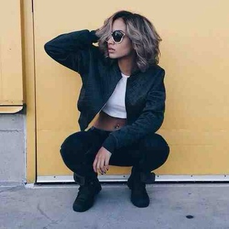 jacket black quilted swag girl crop tops dope sunglasses sneakers white pretty black and white short hair bomber jacket petite hair piercing