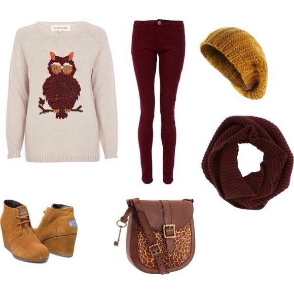 sweater cute burgundy owl white hipster atzech cream nice cool girl style winter sweater fall sweater teenager hipsta lemongrass infinity scarf