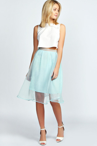 skirt mesh mid skirt mint green skirt chiffon flowy flowy skirt