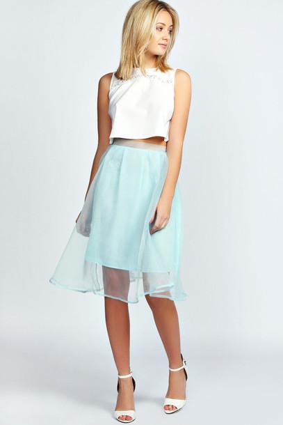 skirt mid skirt mint green skirt mesh chiffon flowy flowy skirt
