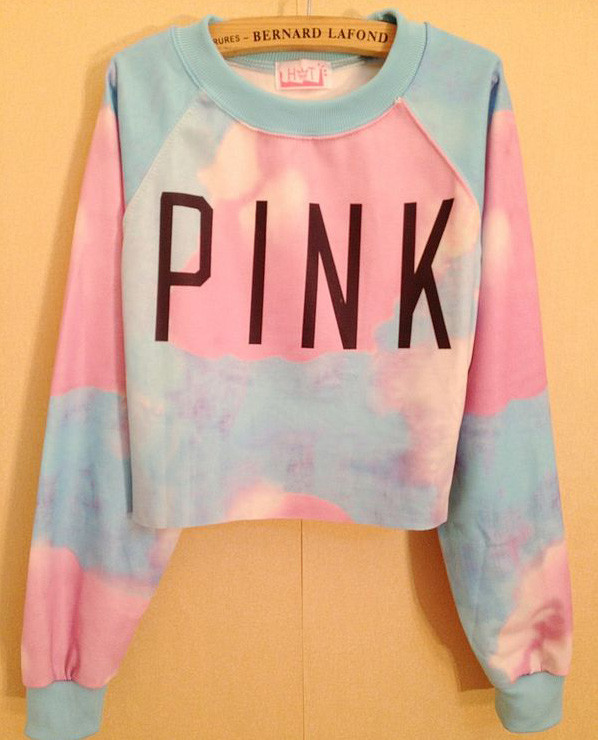 Popular clothing — retro rainbow color mixing letters pink printed sweater bg01