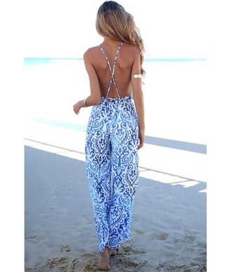 pants blue combinaison jumpsuit blue white open back summer etnic black and white summer outfits beach blue and white backless