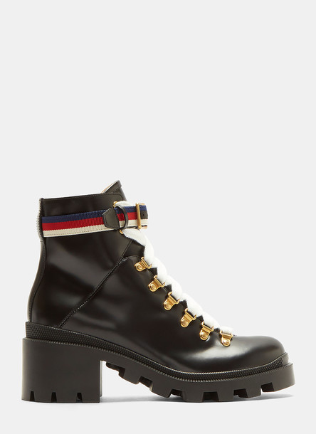 Gucci Trecking Heeled Ankle Boot in Black size EU - 37