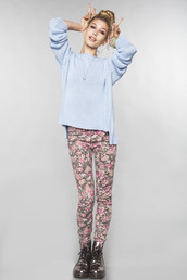 sweater,floral,floral pants,baby blue,cute,outfit,pants,boots,DrMartens,knitted sweater
