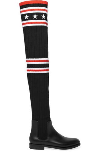 sock boots black knit shoes