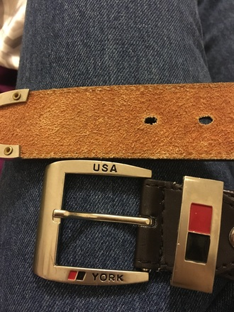belt red black usa york leather silver