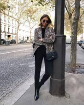 jacket,blazer,leopard print,black denim,skinny jeans,black boots,high heels boots,black blouse,round sunglasses,shoulder bag