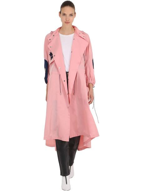 ANGEL CHEN Tokko Embroidered Windbreaker Coat in pink