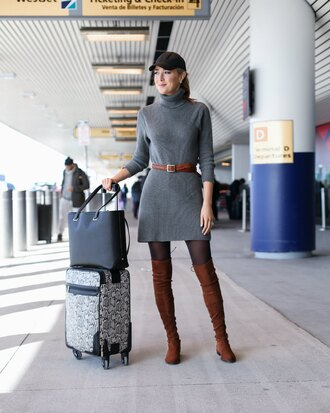 memorandum blogger dress belt shoes jewels bag turtleneck dress sweater dress grey dress airport fashion thigh high boots brown boots tote bag suitcase