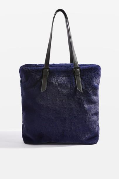 Topshop fur faux fur bag navy blue