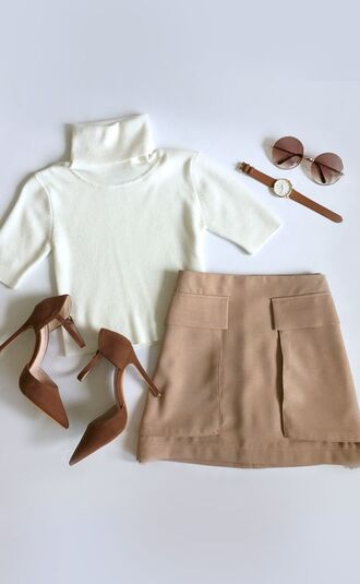 skirt mini skirt nude skirt top crop tops white crop tops shoes camel shoes watch sunglasses round sunglasses