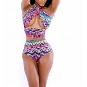 Work geometric print bikini swimwear(no padding)
