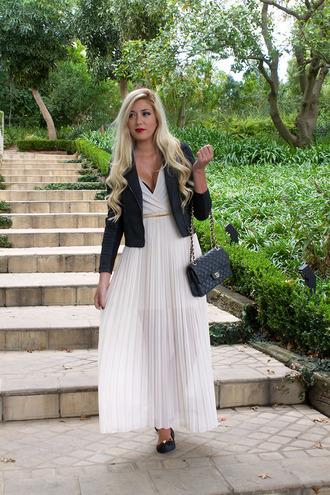 superficial girls blogger jacket maxi dress white dress black jacket pleated