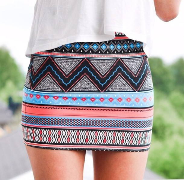 Skirt Tribal Aztec Mini Skirt Tribal Pattern Skirt Blue Pink Magnificent Patterned Mini Skirt