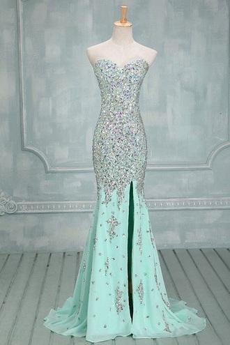 dress prom dress long prom dress blue prom dress baby blue prom sparkly dress long dress formal dress fashion