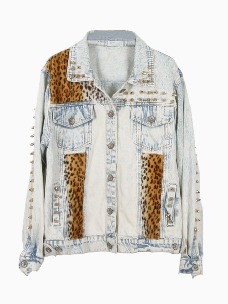 Denim leopard jacket in acid wash with stud