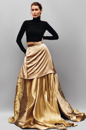 skirt bella hadid black top top gold skirt