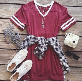 dress red white baseball tee burgundy boho indie hippie hipster summer spring day dress tumblr we heartily