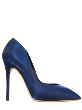 iridescent pumps cotton satin blue shoes