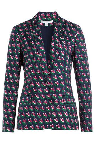 blazer floral print silk jacket
