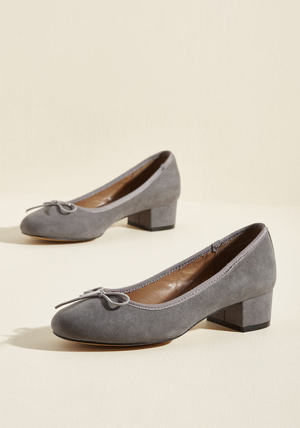 Abel block heels bow heels suede grey shoes