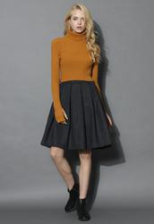 skirt,wool-blend pleated twill skirt,chicwish,pleated,twill skirt,wool-blend