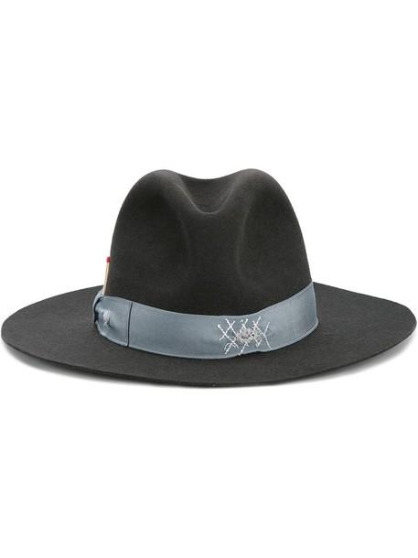 hat fedora blue grey
