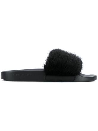 open fur women leather black shoes