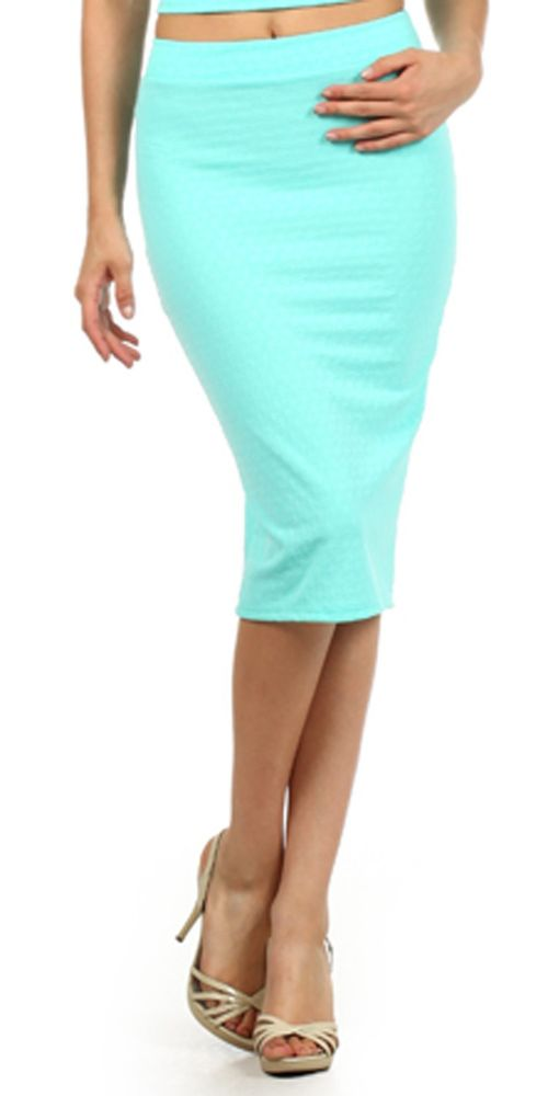 Sexy Women Fashion Mint Color Textured Fabric Below Knee Tube Pencil Skirt USA