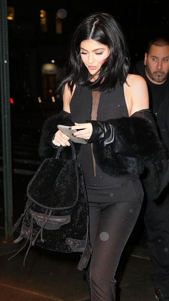 bag kylie jenner black backpack fur black jumpsuit
