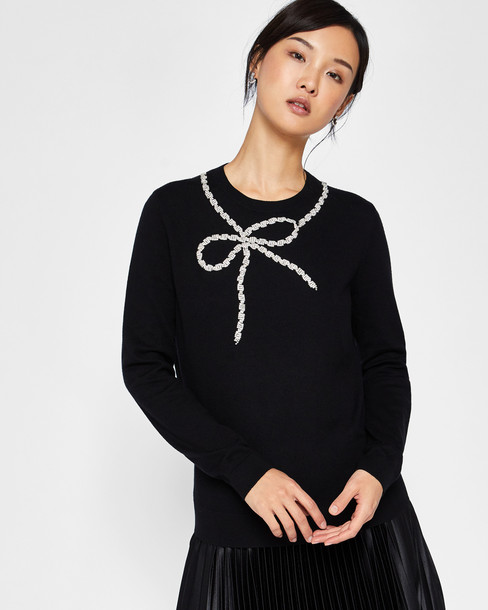 sweater bow embellished cotton black