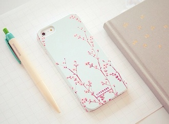 pink white cherry blossom iphone technology notebook desk flowers