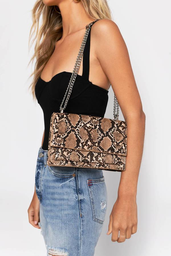 Pretty Mama Brown Snake Print Crossbody Bag