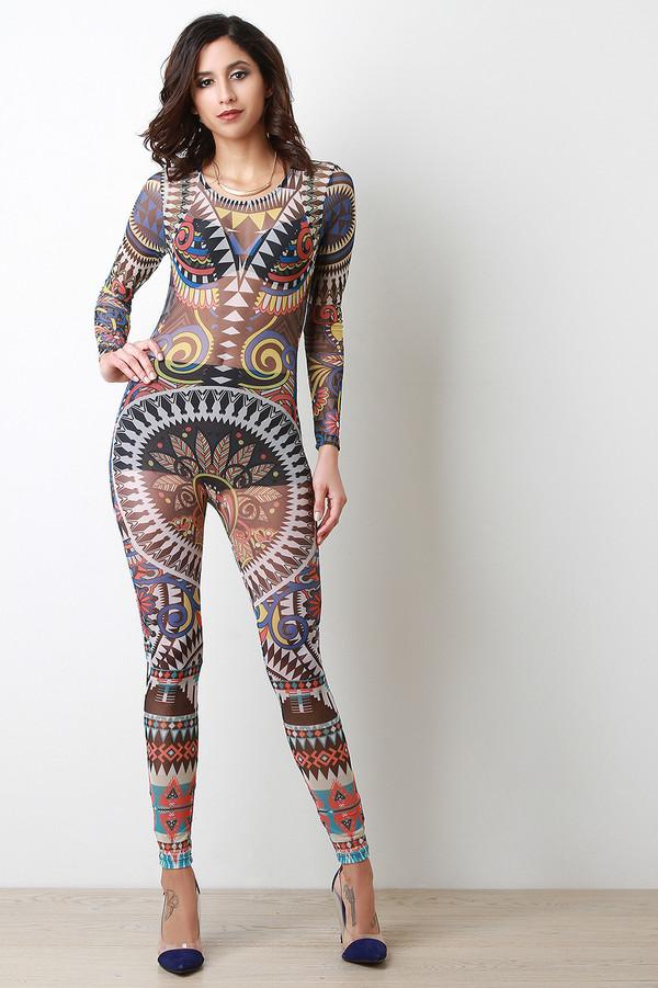 jumpsuit, one piece, tribal pattern, bohemian, urban